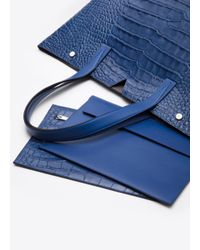 Vince Blue Medium Embossed-Leather Tote