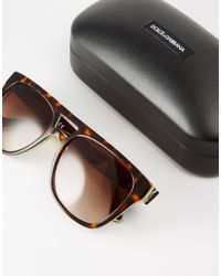 Dolce & Gabbana - Brown Flat Brow Aviator Sunglasses for Men - Lyst