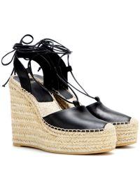 Saint Laurent Black Leather Espadrille Wedge Sandals