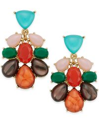 kate spade new york | Gold-tone Multicolor Stone Drop Earrings | Lyst