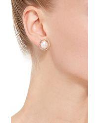 Jordan Alexander - White Mo Exclusive: 18k Yellow Gold Diamond And Pearl Slice Earrings - Lyst