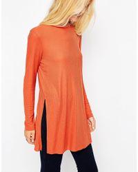 ASOS - Orange Longline Top With Side Splits And Long Sleeves - Lyst