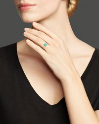 Ippolita Blue Rock Candy® 18K Gold Mini Single Square Stone Ring In Turquoise