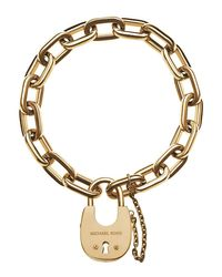 Michael Kors - Metallic Padlock Link Bracelet - Lyst
