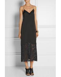 DKNY Black Lace-Trimmed Satin Midi Dress