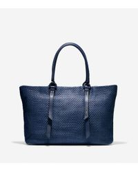 Cole Haan Blue Bethany Weave Large Tote
