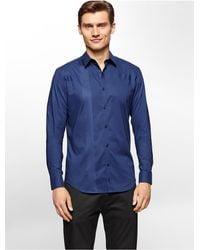 Calvin Klein - Blue White Label Premium Slim Fit Engineered Tonal Stripe Shirt for Men - Lyst