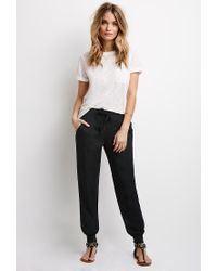Forever 21 | Black Woven Drawstring Joggers | Lyst
