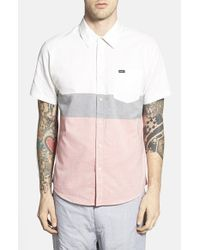 RVCA | Black 'that'll Do' Short Sleeve Colorblock Oxford Woven Shirt for Men | Lyst
