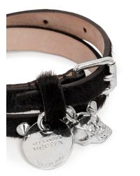 Alexander McQueen | Black Skull Stud Double Wrap Pony Hair Leather Bracelet | Lyst
