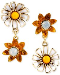 Betsey Johnson | White Gold-Tone Faceted Bead Daisy Double Drop Earrings | Lyst