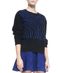 Opening Ceremony - Blue Fingerprint Wool Crewneck Sweater - Lyst