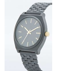 Nixon - Time Teller Matte Black And Gold Analog Watch for Men - Lyst