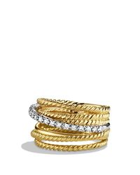 David Yurman Yellow Crossover Wide Ring With Diamonds In Gold