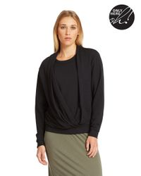 424 Fifth | Black Asymmetrical Drape Front Sweatshirt | Lyst