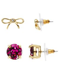 kate spade new york - Metallic Bow And Glitter Stud Earrings Set - Lyst