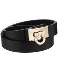Ferragamo | Black Gancini Lock Wrap Bracelet | Lyst