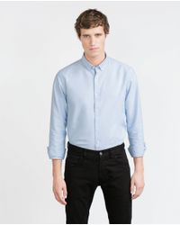 Zara | Blue Slim Fit Red Label Shirt for Men | Lyst