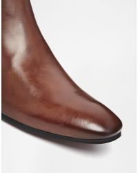 ASOS Brown Chelsea Boots In Leather for men
