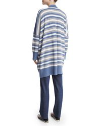 Eskandar - Blue Oversized Striped Cashmere Cardigan - Lyst