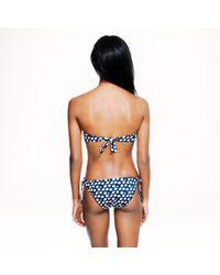 J.Crew Blue Block-print Gathered Halter One-piece Swimsuit
