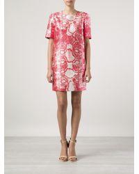 Giambattista Valli Pink Silk Snakeskin Shift Dress