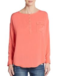 Splendid | Orange Voile Pocket Top | Lyst