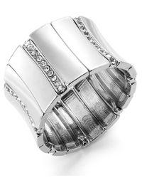 INC International Concepts - Metallic Crystal Pavé Wide Stretch Bracelet - Lyst