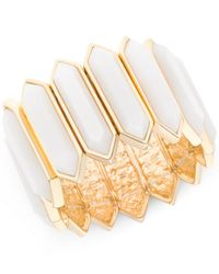 T Tahari | Gold-tone White Hexagonal Stone Stretch Bracelet | Lyst