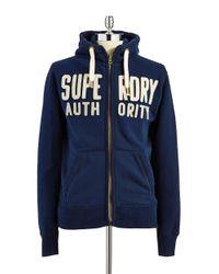 Superdry | Blue Wordplay Zip Hoodie for Men | Lyst
