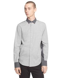 Rag & Bone - Gray 'paneled Stock' Trim Fit Colorblock Shirt for Men - Lyst