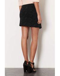 TOPSHOP - Black Floral Jacquard Wrap Skirt - Lyst