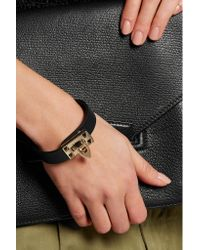 Valentino - Black Leather Bracelet - Lyst