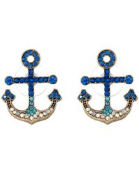 Betsey Johnson   Blue Gold-Tone Pavé Anchor Stud Earrings   Lyst