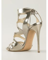Casadei - Metallic Strappy Stiletto Sandals - Lyst