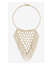 Express - Metallic Woven Bib And Fringe Necklace - Lyst