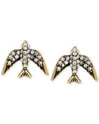 Betsey Johnson | Black Gold-tone Crystal Pavé Bird Stud Earrings | Lyst