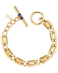 Tommy Hilfiger | Metallic Classic Signature Skinny Link Bracelet | Lyst