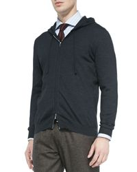 Kiton | Gray Cashmere-Blend Zip-Front Hoodie for Men | Lyst