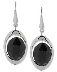 Robert Lee Morris - Silver-tone Black Faceted Bead Drop Earrings - Lyst