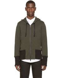 Ann Demeulemeester | Green Knit Trim Hoodie for Men | Lyst