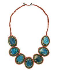 Panacea - Blue Agate Woven Rope Necklace - Lyst