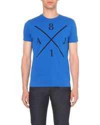 Armani Jeans | Blue Cross-graphic Cotton-jersey T-shirt for Men | Lyst