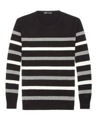 Onassis Clothing | Black Stripe Crew Neck for Men | Lyst