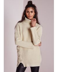 Missguided | Natural Roll Neck Lace Up Side Jumper Cream | Lyst