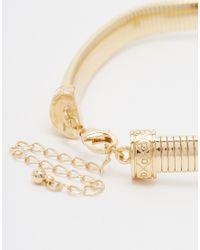 ASOS - Metallic Snake Chain Flower Gem Choker Necklace - Lyst