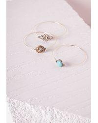 Missguided - Blue Charm Bracelet Three-Pack Set Gold - Lyst