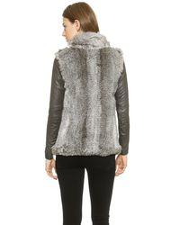 June Fur Jacket With Leather Sleeves - Natural/Black