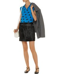 Equipment Blue Colleen Printed Washed-silk Shirt