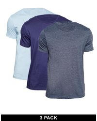 ASOS Blue Slim Fit T-shirt With Crew Neck 3 Pack Save 17% for men